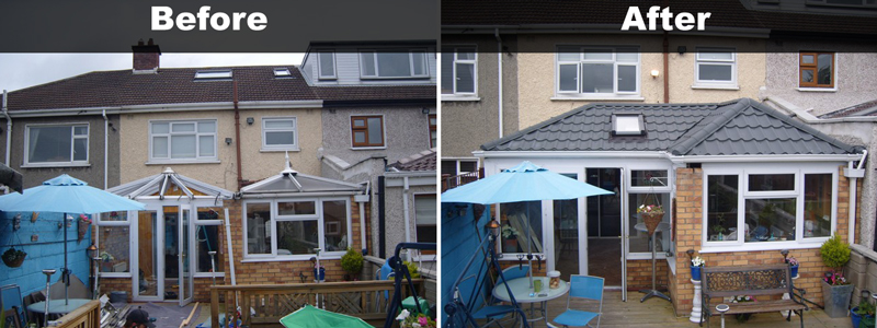 conservatory roof conversion before and after